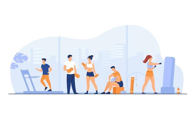 Los atletas que hacen ejercicio físico en el gimnasio con ventanas panorámicas aislaron ilustración vectorial plana. gente de dibujos animados entrenamiento cardiovascular y levantamiento de pesas. vector gratuito