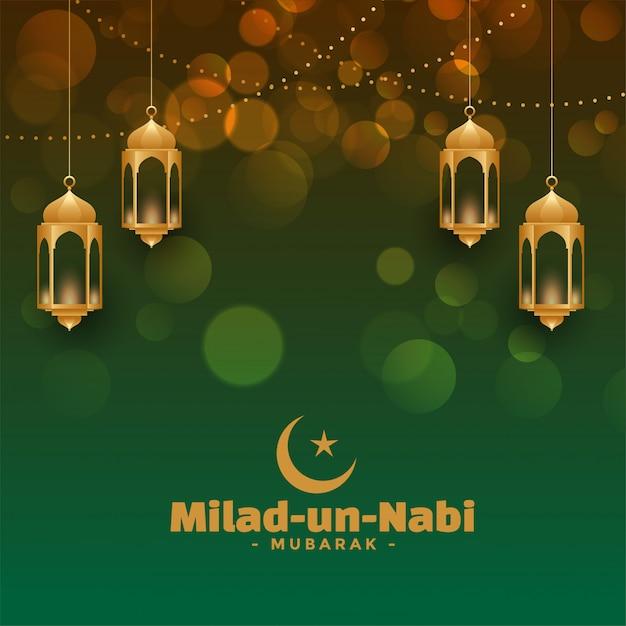 Atractiva tarjeta del festival milad un nabi vector gratuito