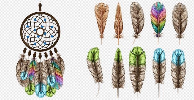 Atrapasueños ilustración vectorial. boho bohemian dream catcher. plumas de colores de colores. Vector Premium