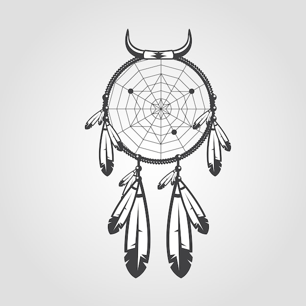 Atrapasueños indio aislado sobre fondo blanco | Vector Premium