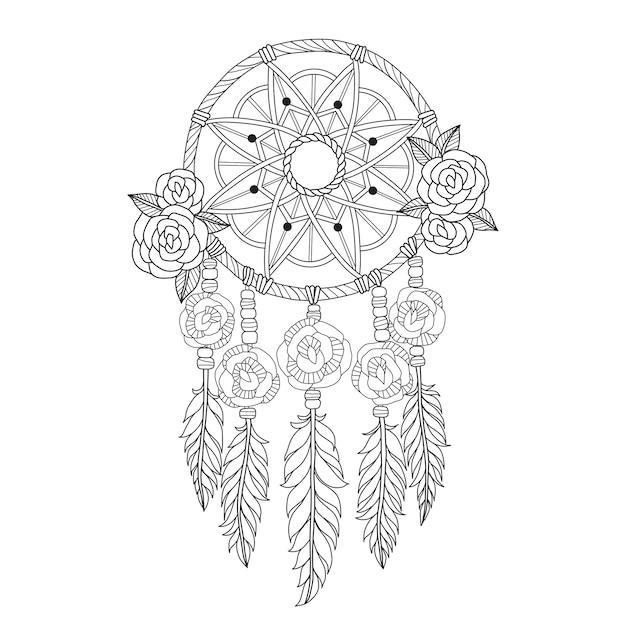 Atrapasueños indios en estilo zentangle | Vector Premium