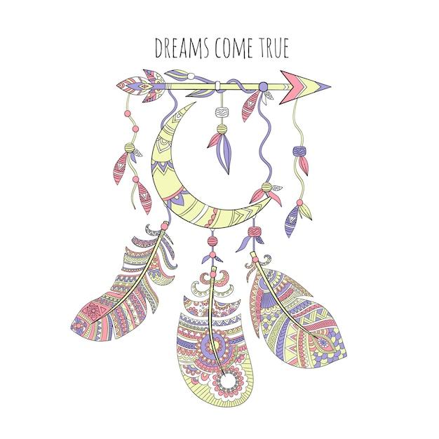 Atrapasueños, plumas tribales étnicas natividad ilustraciones de arte indio americano Vector Premium