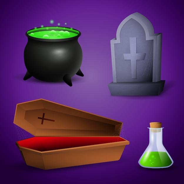 Atributos de celebración de halloween vector gratuito