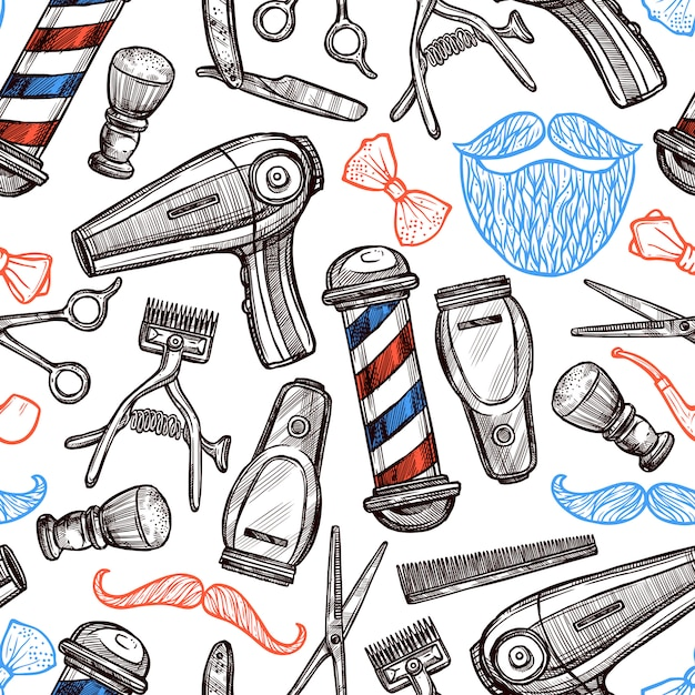 Atributos de la peluquería doodle de patrones sin fisuras vector gratuito