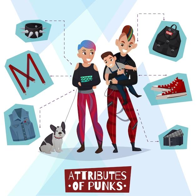 Atributos de punks ilustración de dibujos animados vector gratuito