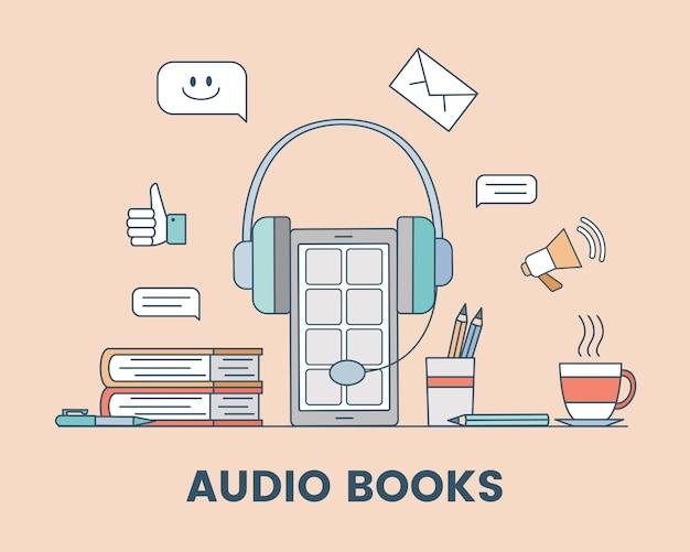 Audio libro de dibujos animados concepto de esquema. podcast, medios de audio o ilustración de aprendizaje electrónico. Vector Premium