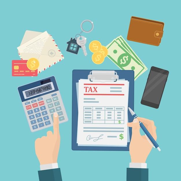 Los auditores están calculando y llenando un formulario de impuestos para empresas financieras Vector Premium