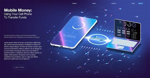 Auditoría digital. smartphone de ilustración vectorial isométrica con tarjeta de crédito. Vector Premium