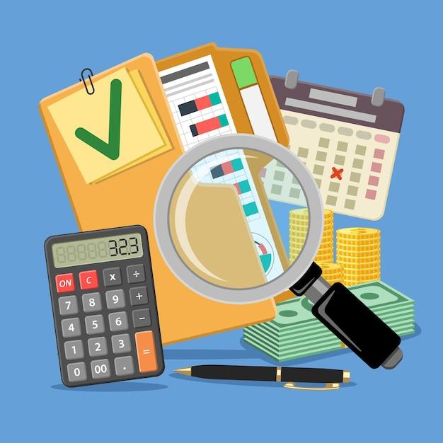 Auditoría, impuestos, contabilidad empresarial banner. lupa y carpeta con informes financieros comprobados, calculadora, calendario y dinero. iconos de estilo plano. aislado Vector Premium
