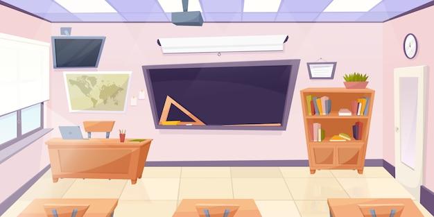 Aula de dibujos animados con pizarra Vector Premium