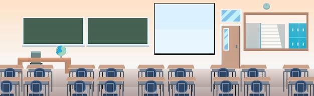 Aula de la escuela con muebles tablero escritorio vacío ninguna gente clase interior horizontal Vector Premium