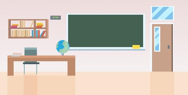 Aula de la escuela con muebles vacíos no hay clase clase interior horizontal Vector Premium