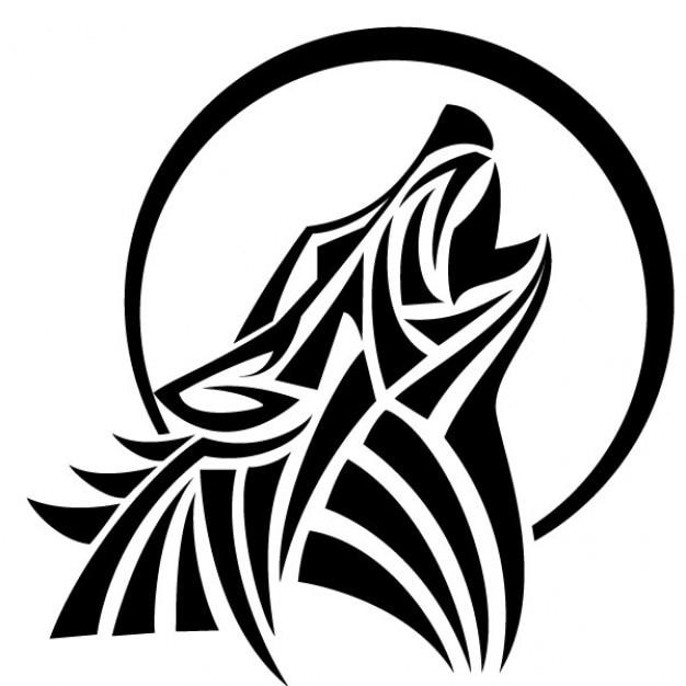 Aullido del lobo vector estilo tribal | Descargar Vectores gratis