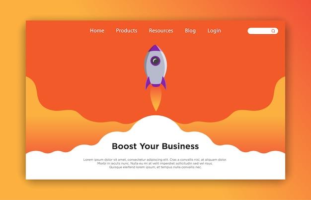 Aumente su plantilla de página de destino de negocios Vector Premium