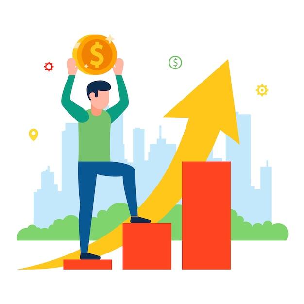 Aumento de precios para el consumidor. horario de ingresos de la población. ilustración. Vector Premium