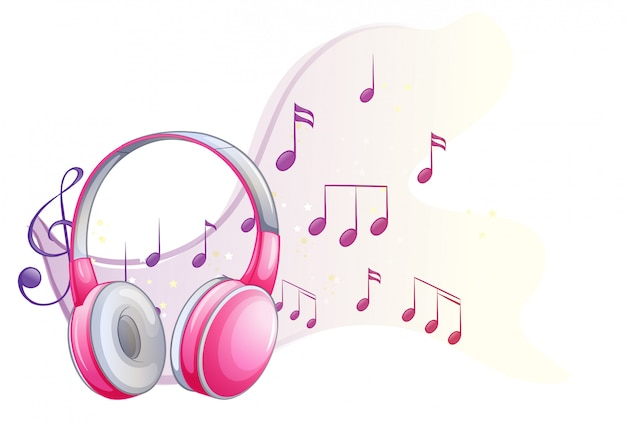 Auricular rosa con notas musicales en el fondo vector gratuito
