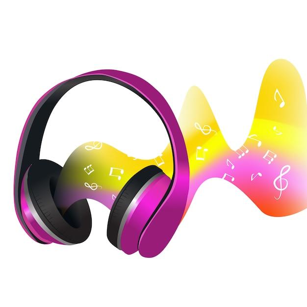 Auriculares y ondas de sonido. vector gratuito