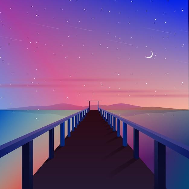 Aurora cielo con ilustración de muelle y puente Vector Premium