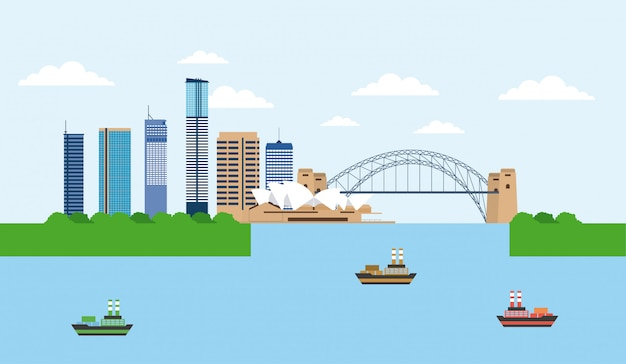 Australia harbour bridge sydney vector gratuito