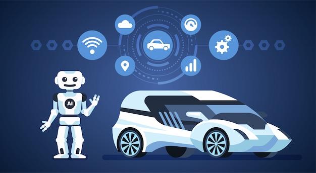 Auto autónomo. inteligencia artificial en el camino. Vector Premium