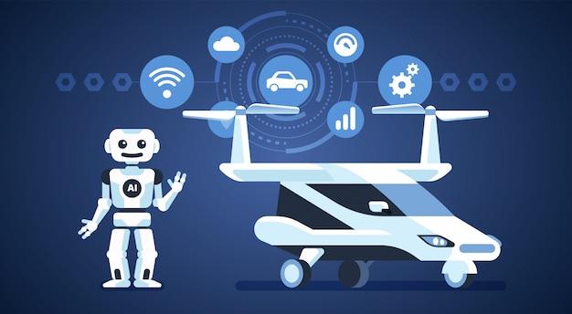 Auto autónomo. transporte volador. coche autónomo con robot e iconos. inteligencia artificial en el camino. Vector Premium