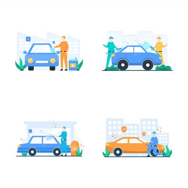 Auto cuidado, lavado de personas y reparación de automóviles, ilustración Vector Premium