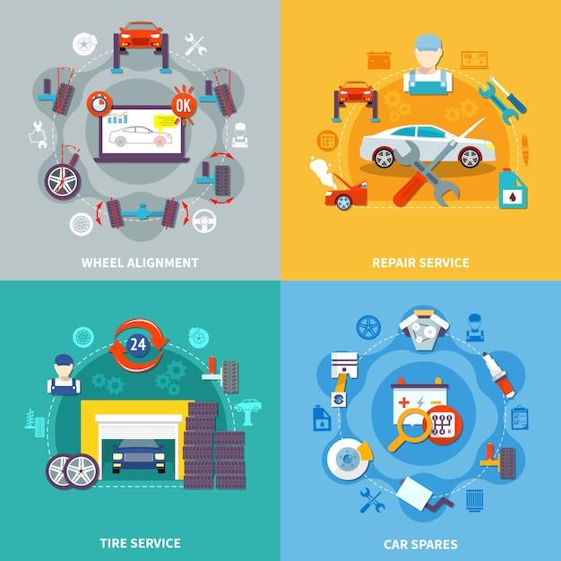 Auto service 2x2 design concept vector gratuito