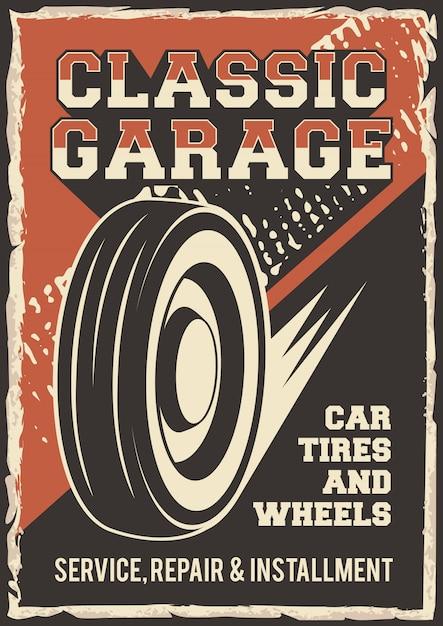 Auto servicio neumáticos de coche ruedas servicio reparación reparto señalización cartel retro rústico Vector Premium