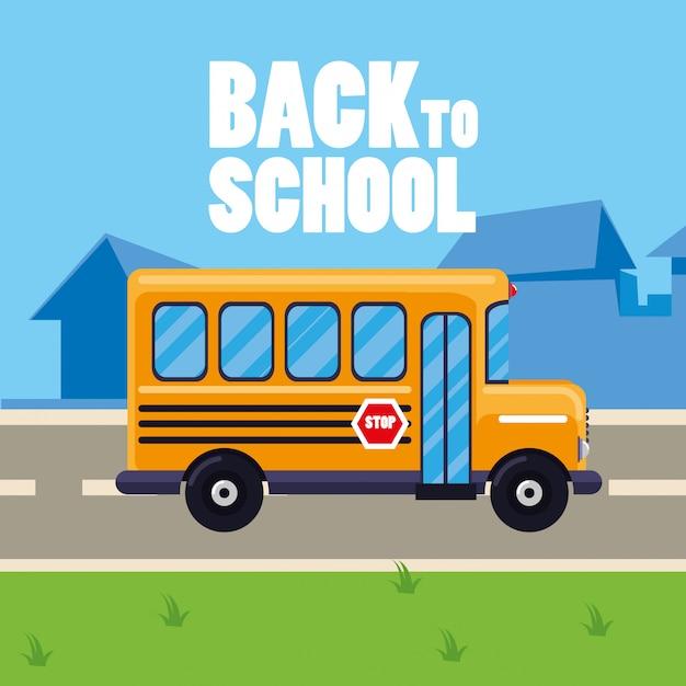Autobús escolar en la calle Vector Premium