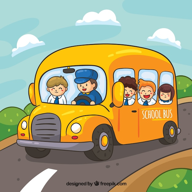 Autobús escolar y niños dibujado a mano con estilo de dibujos animados vector gratuito