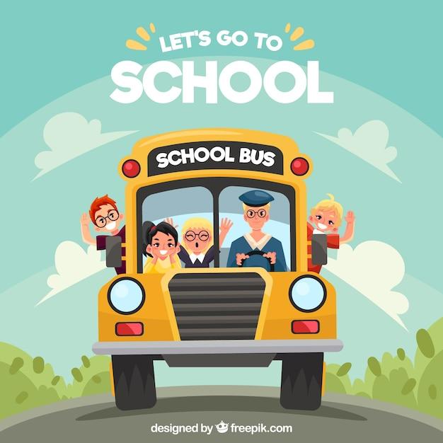 Autobús escolar y niños de dibujos animados con diseño plano vector gratuito