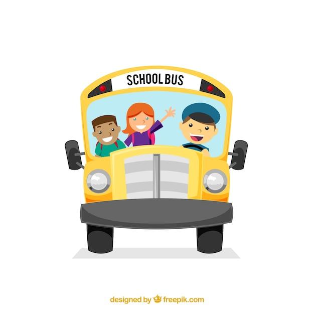 Autobús escolar con niños con estilo de dibujos animados vector gratuito