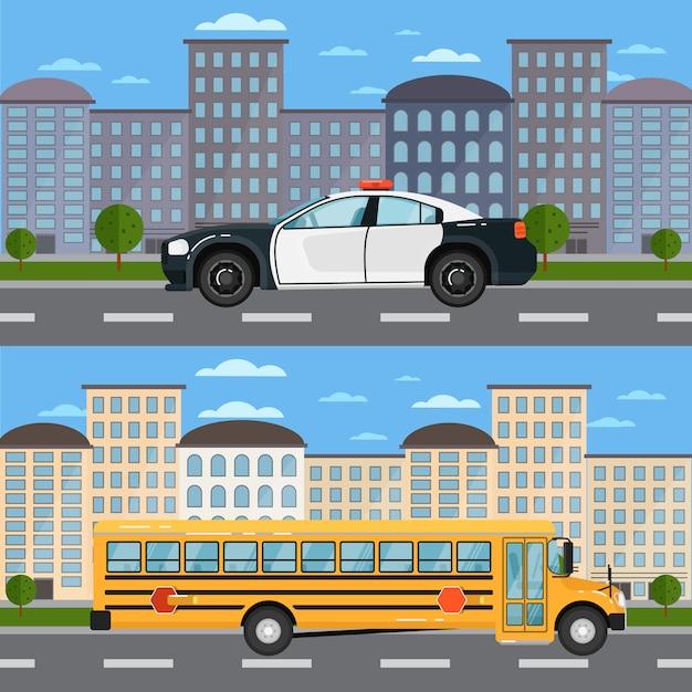 Autobús escolar y patrullero en paisaje urbano Vector Premium