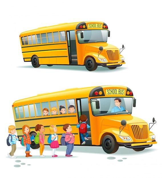 Autobús escolar Vector Premium