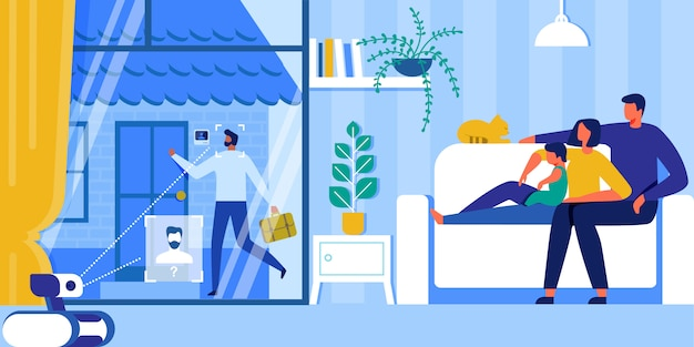Automatización del hogar. sistema de seguridad inteligente, iot, ai. Vector Premium