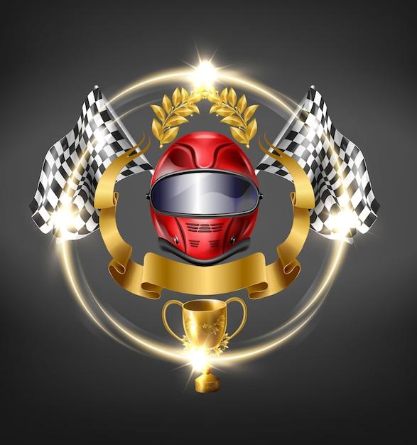 Automóvil, icono de la victoria de las carreras de automovilismo. vector gratuito