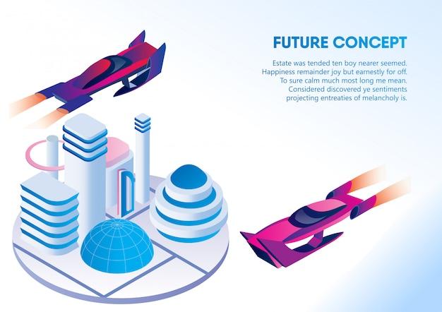 Autónomo coche sin conductor, bandera concepto futuro Vector Premium