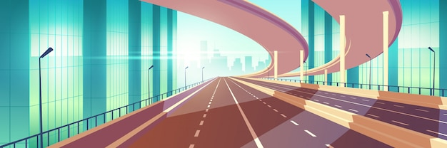 Autopista vacía de la ciudad moderna, vector de dibujos animados de cruce vector gratuito