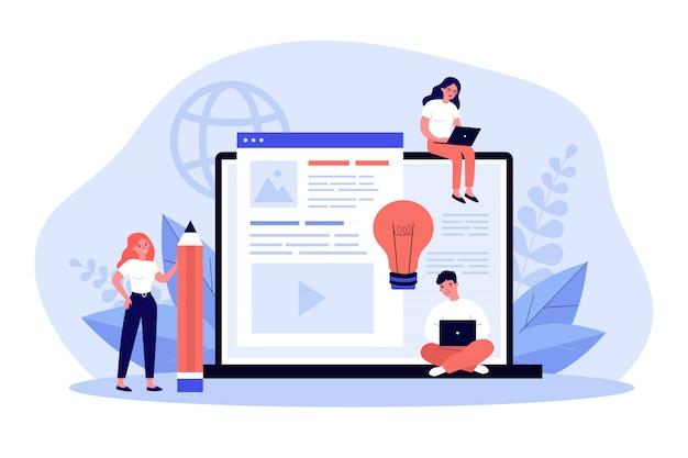Autores de blogs que escriben artículos Vector Premium