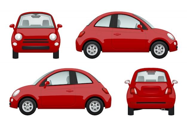 Autos de colores. varios autos de ilustraciones realistas Vector Premium