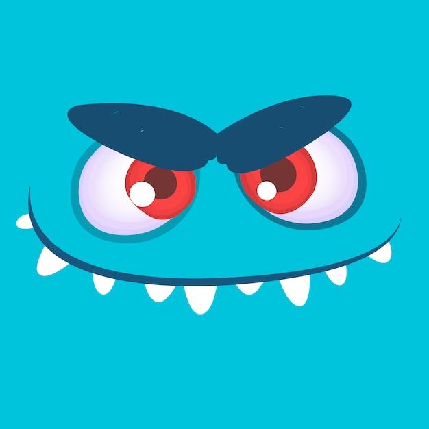 Avatar de cara de monstruo de dibujos animados. monstruo de halloween Vector Premium