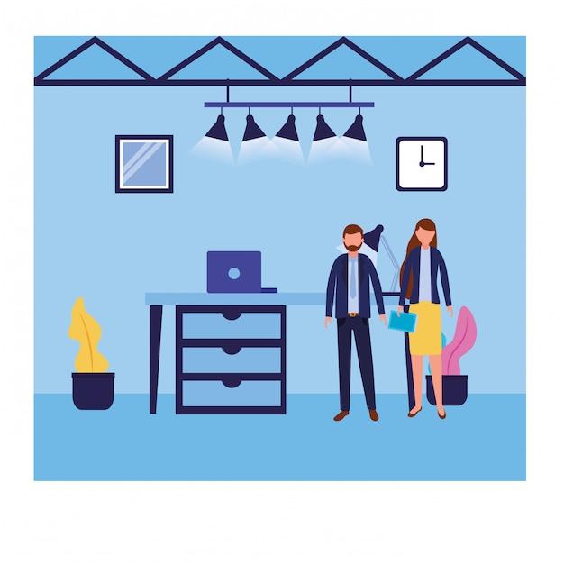 Avatar de empresario y empresaria vector gratuito