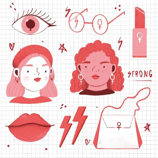 Avatares y accesorios para mujeres. vector gratuito