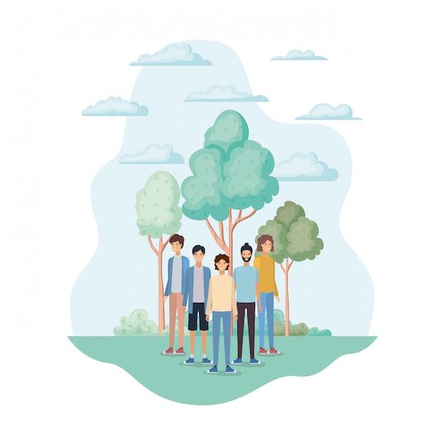 Avatares aislados de hombres en el parque. vector gratuito