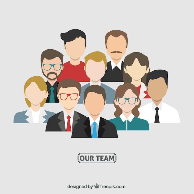 Avatares del equipo de negocios Vector Gratis