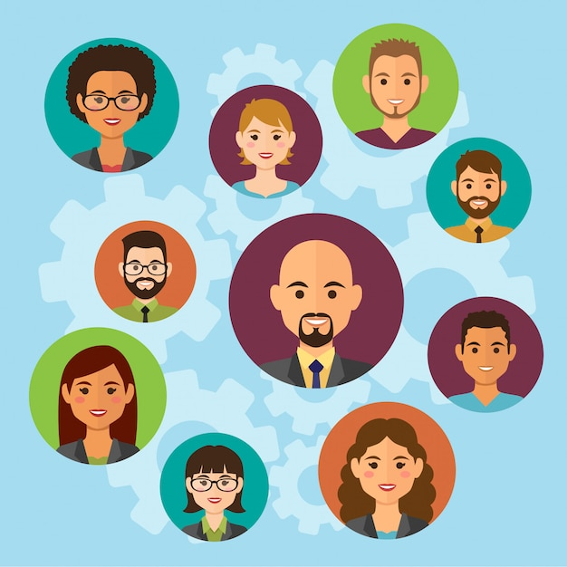 Avatares de gente de negocios en la nube. avatares de trabajo en equipo Vector Premium