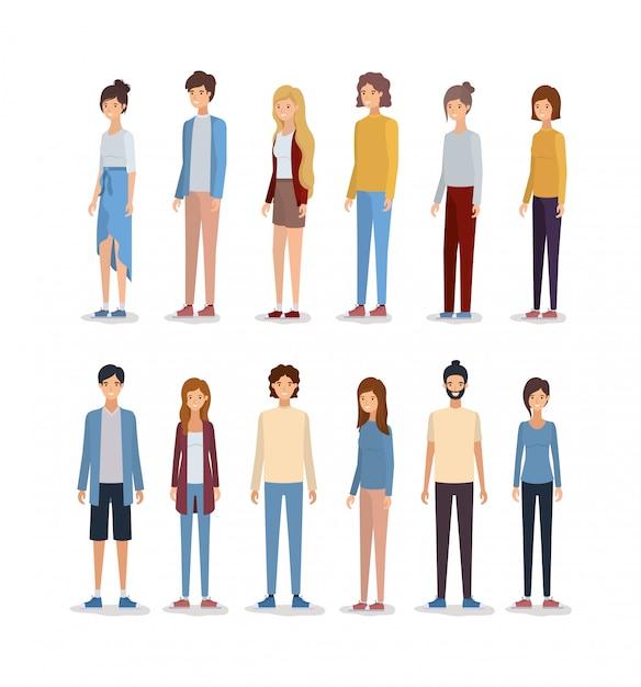 Avatares de mujeres y hombres. vector gratuito