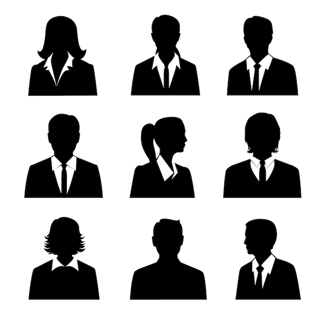 Avatares de negocios establecidos. vector gratuito