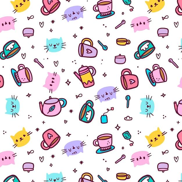 Avatares de patrones sin fisuras de gatos y tazas vector gratuito