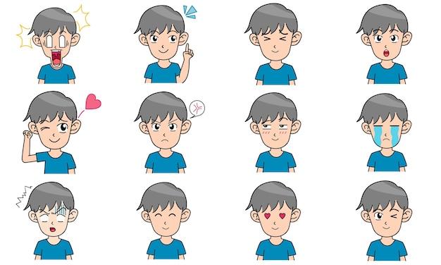 Avatares de personajes de niño pequeño 12 expresiones faciales diferentes Vector Premium
